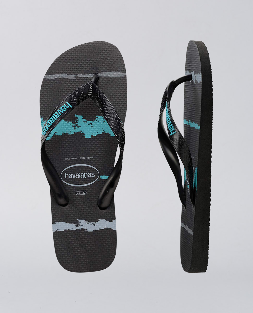 e993f0c84 Havaianas Rubber Logo Black Blue Tropical Glitch Thongs