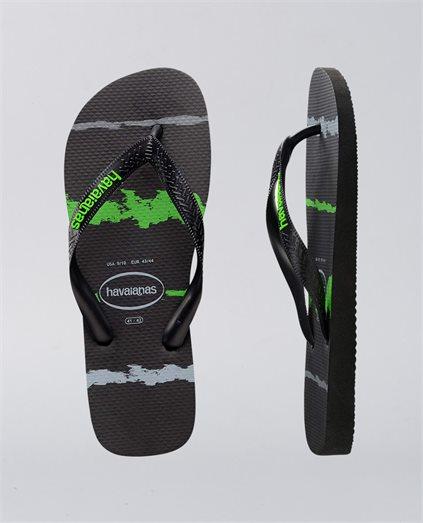 Rubber Logo Tropical Glitch Black Neon Green Thongs