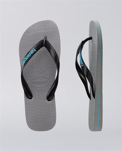 Top Rubber Logo Steel Grey Thongs