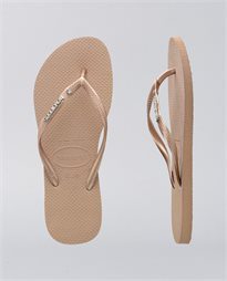 Slim Metal Logo Crystal Rose Gold Thongs