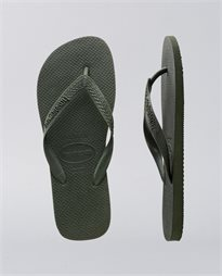 Rubber Logo Top Green Olive Thongs