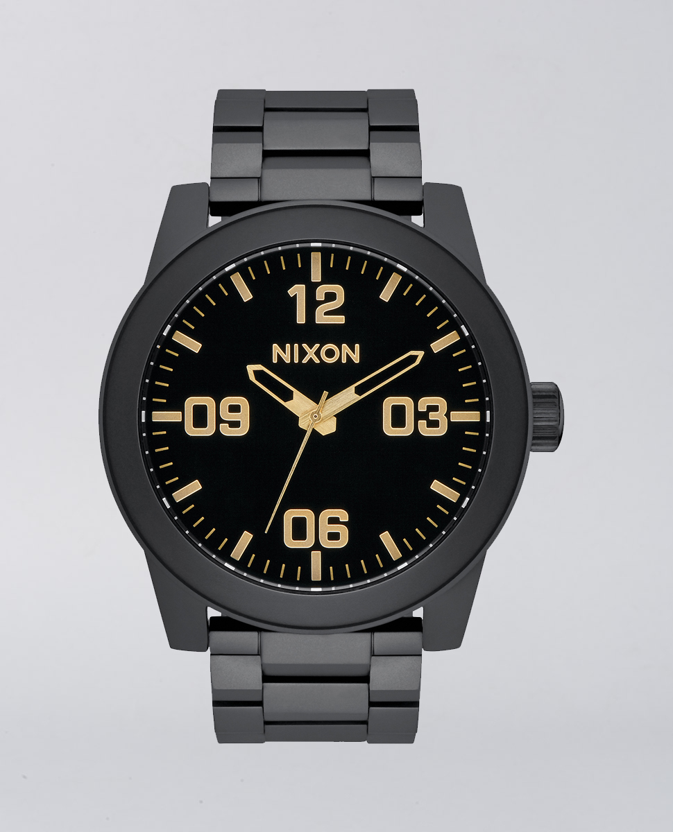 Corporal Stainless Steel Matte Black Gold Watch