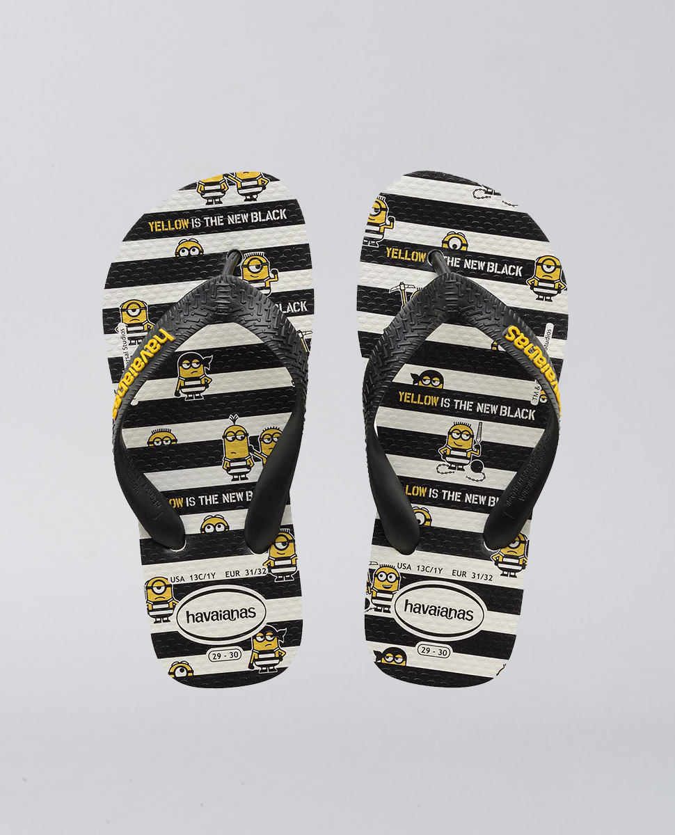a83670332400ca Havaianas Kids Minions Black and White Thongs