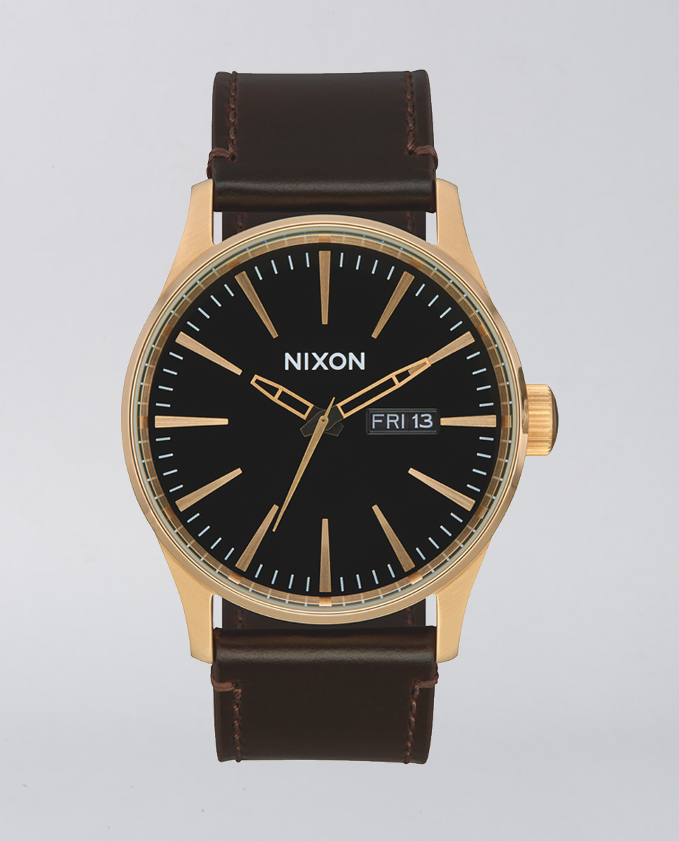 Sentry Leather Gold Brown Watch