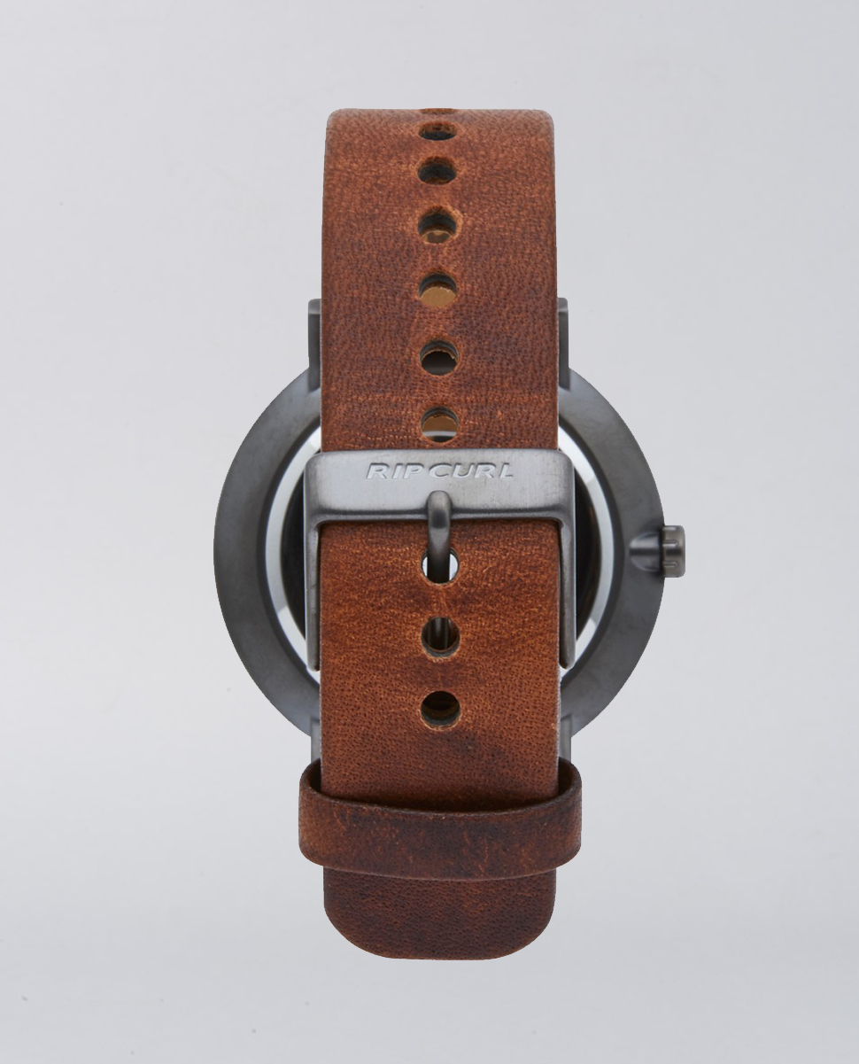 Mode Leather Gunmetal Watch
