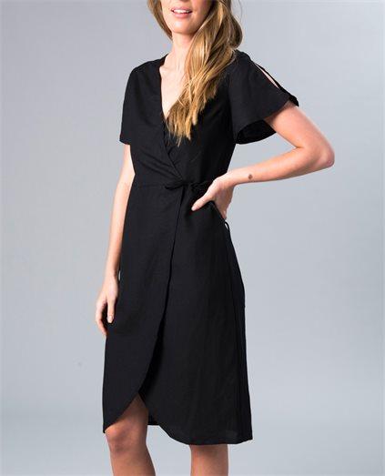 Avery Black Linen Wrap Dress