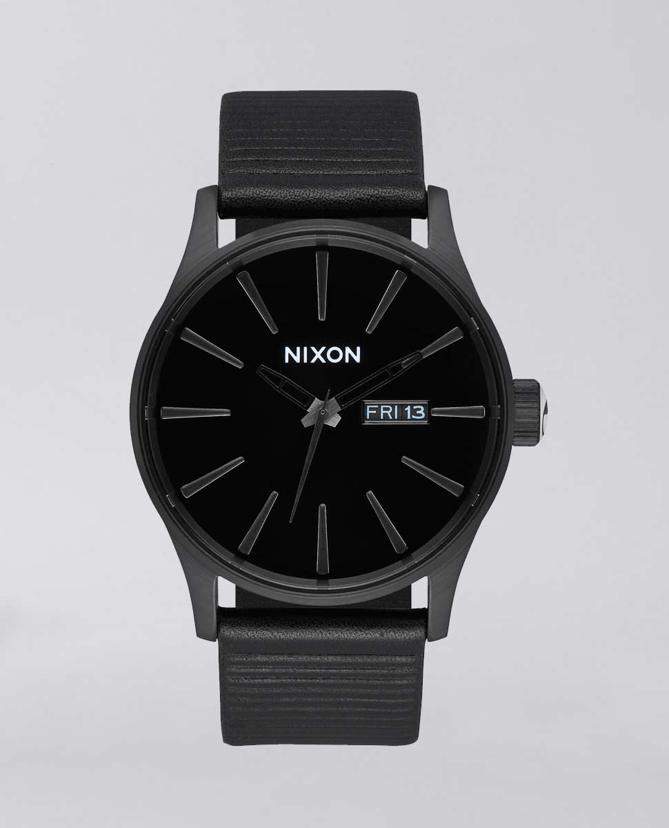Sentry Leather All Black Watch