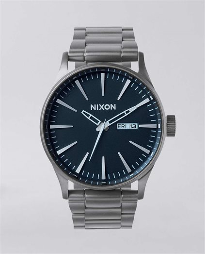 The Sentry Stainless Steel Blue Crystal Watch