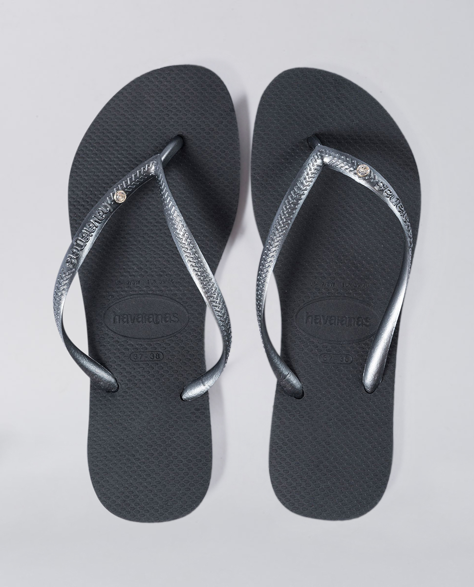 0913b577b91fe Havaianas Slim Crystal Black Thongs