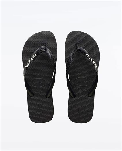 Kids Rubber Logo Black White Thongs