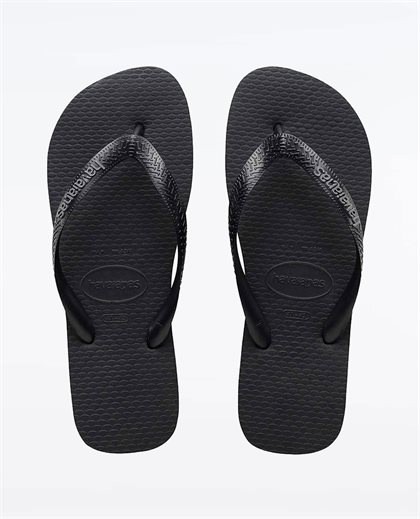 Rubber Logo Black Steel Grey Thongs