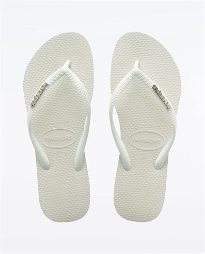 Slim Metal Logo White Silver Thongs