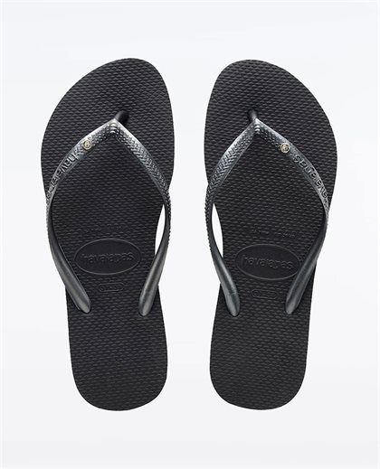 Slim Crystal Black Thongs