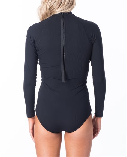 Long Sleeve Back Zip UV Rib Surf Suit