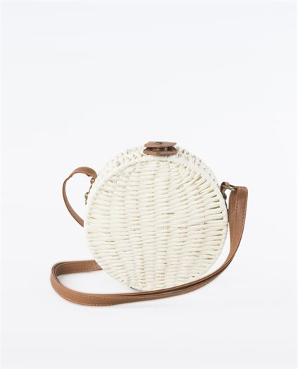 Straw Round Cream Bag