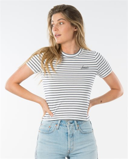 Striped Logo Fitted Tee