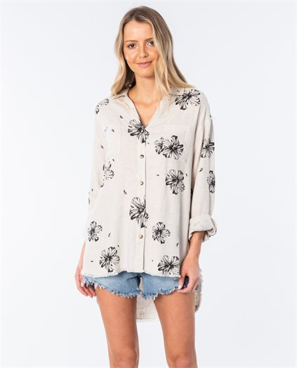 Coastal Hibiscus Long Sleeve Shirt