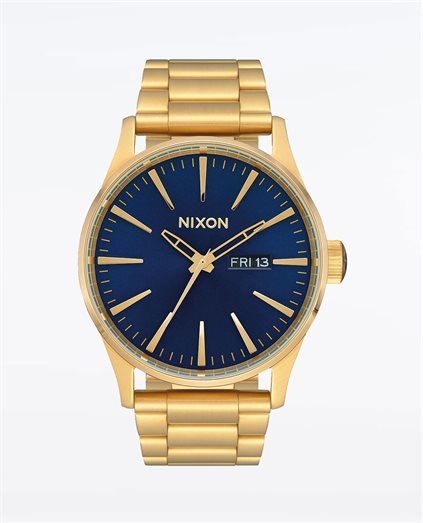 Sentry Stainless Steel Gold Blue Sunray Watch
