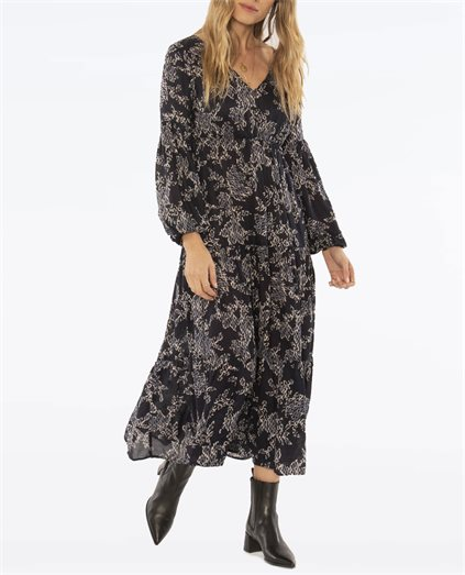 Como Midi Long Sleeve Ink Woven Dress