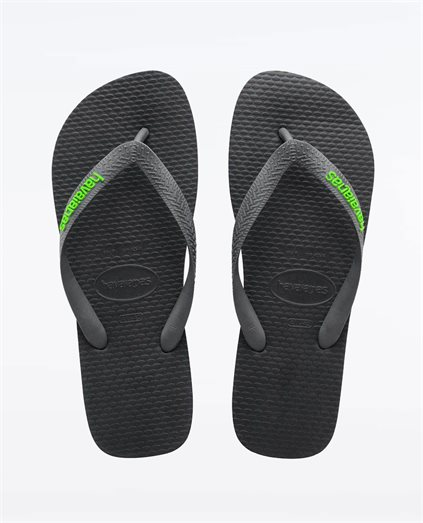 Rubber Logo Black Neon Green Thongs