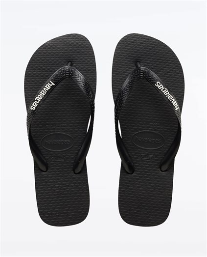 Rubber Logo Black Glacial White Thongs