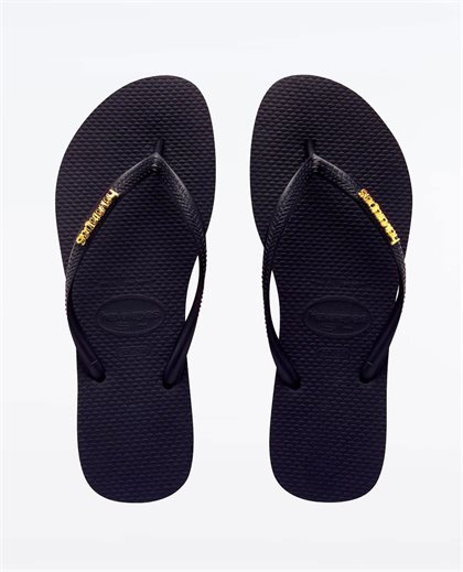 Slim Metal Logo Black Gold Thongs